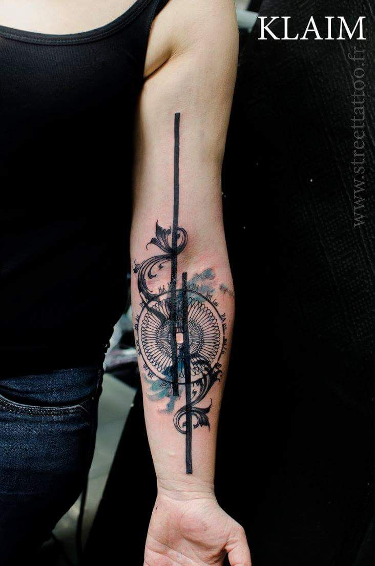 89bb38381 Trash Polka Klaim | Forearm script tattoo | Trash polka tattoo ...