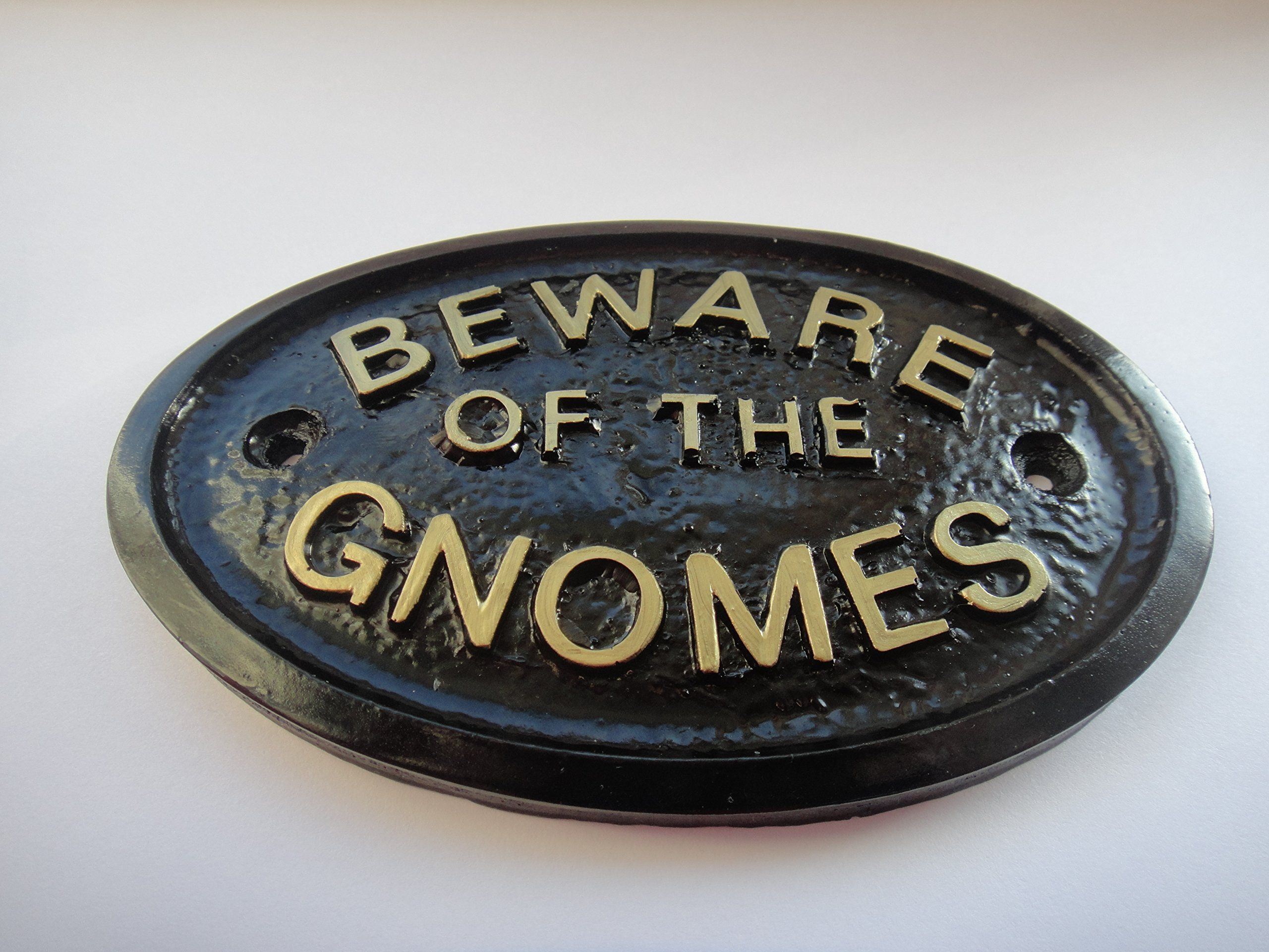 """""""BEWARE OF THE GNOMES"""" HOUSE/GARDEN WALL PLAQUE (Black)"""