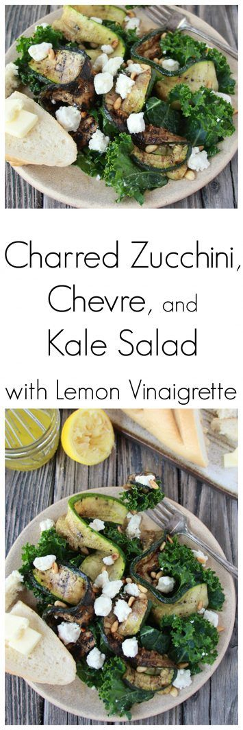 Charred Zucchini, Chevre, and Kale Salad with Lemon Vinaigrette on…