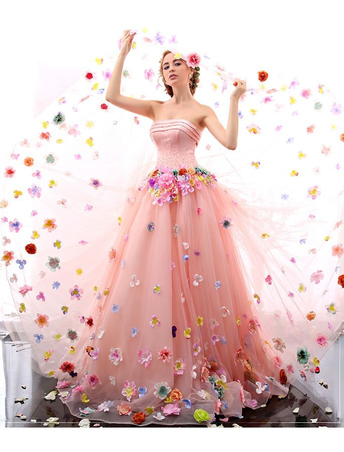 Romantic Strapless Floral Retro Prom Dress The top is gorgeous but ...