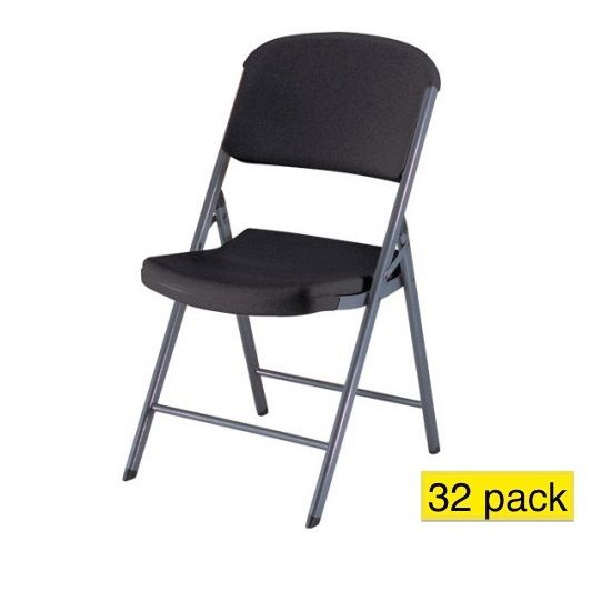 Lifetime Folding Chairs 80061 Black Seat And Back 32 Pack Folding Chair Plastic Folding Chairs Padded Folding Chairs