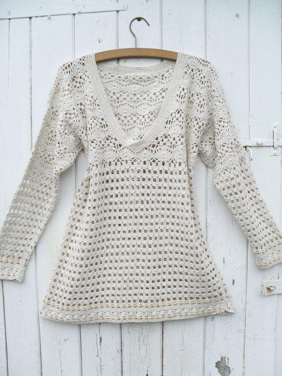 Vintage Crochet Boho Top Crochet Blouses And Tanks Pinterest