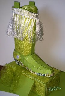 Barbara's Boot from HAPPY TRAILS SVG KIT is just a beauty, isn't it!  Check out her colors and embossing and trim!   And what a great idea using the paisley print for the sole of the boot!  Super cute!