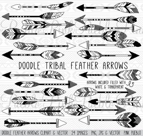 doodle feather arrows clipart clip art vectors rustic