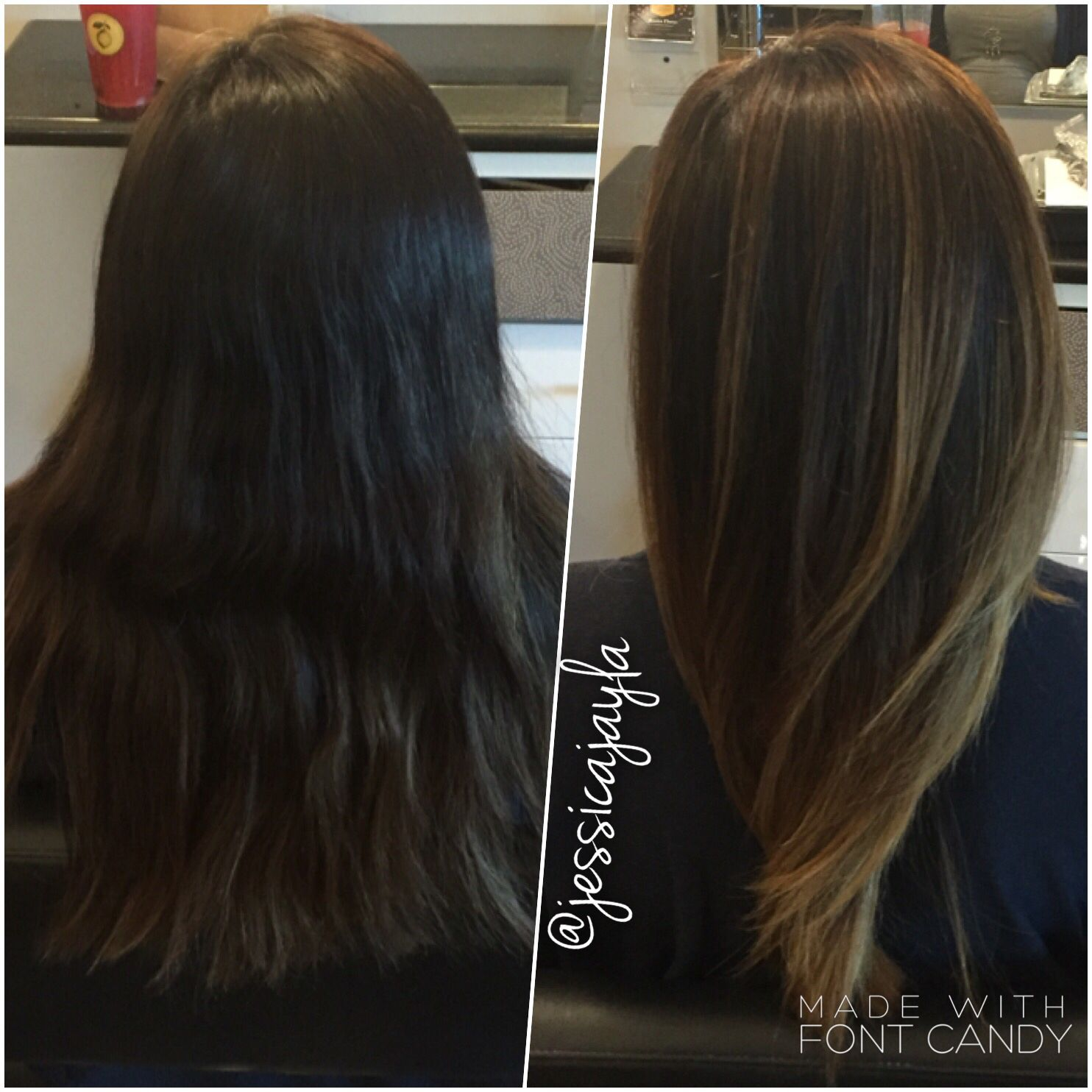 Before and after Beautiful balayage on dark brown hair Soft