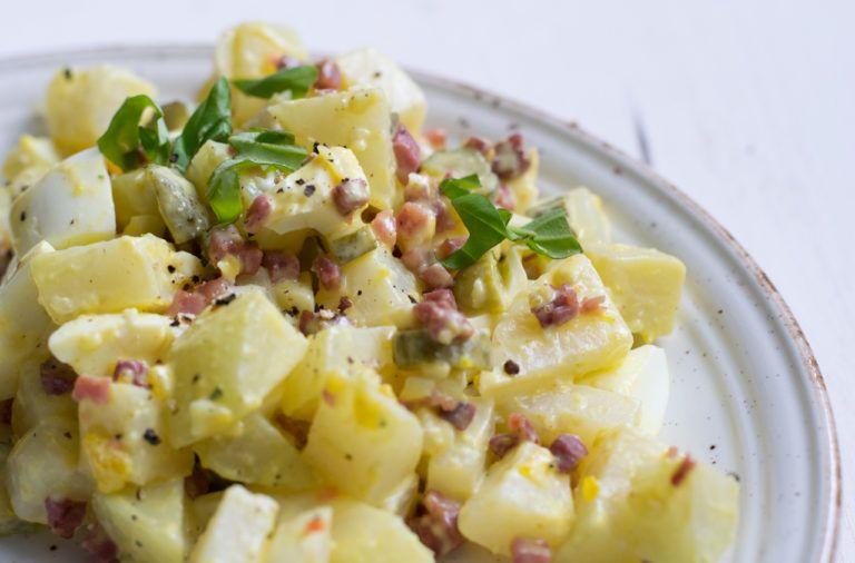 Köstlicher falscher Low Carb Kartoffelsalat mit Speck #diabetesmenu