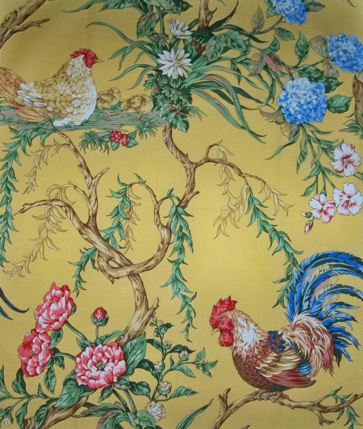Scalamandre Chanticleer Rooster Fabric 10 Yards Mustard Blue Reds Multi Ebay