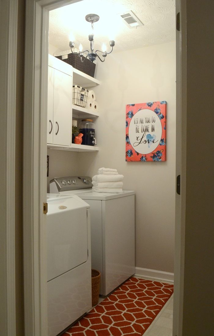 15 Budget Room Makeovers You Have To See: Lovely Laundry Room Makeover On A Tight Budget. If You