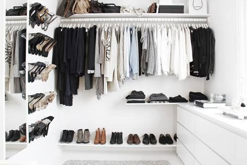 Black And White Closet Using Ikea Walk In ClosetDIY Shoe Rack Created With A Series Of Ikeas BYGEL Towel Rods Spray Painted Gold Is Brilliant