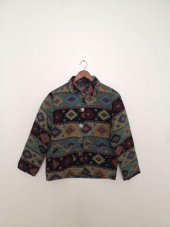 Vintage Green  Southwestern Tribal/Navajo Cotton by polomocha, $22.00