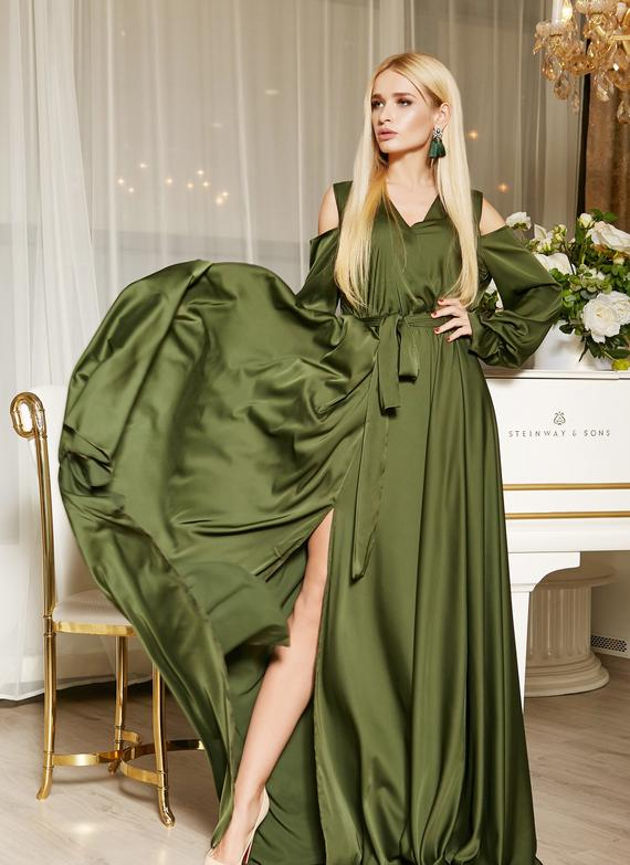 Olive Green Bridesmaid Dress Silk Long Wedding Dres Custom Olive Engageme Olive Green Bridesmaid Dresses Green Bridesmaid Dresses Long Green Bridesmaid Dresses