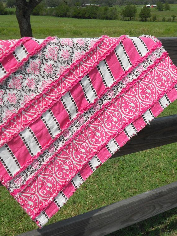 Hot Pink Black And White Minky Rag Quilt Baby By