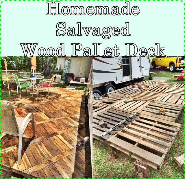 homemade salvaged wood pallet deck homesteading the homestead survival com wood pallets. Black Bedroom Furniture Sets. Home Design Ideas