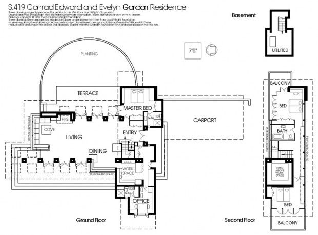 frank lloyd wright 39 s gordon house plan architecture usonian house architectural section. Black Bedroom Furniture Sets. Home Design Ideas