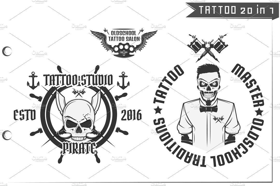 20 In 1 Tattoo Design Elements Zip Archive File Machines