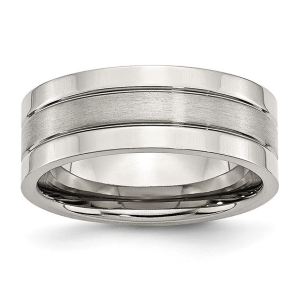 Men's 8.0mm Brushed Center Satin Groove Wedding Band in