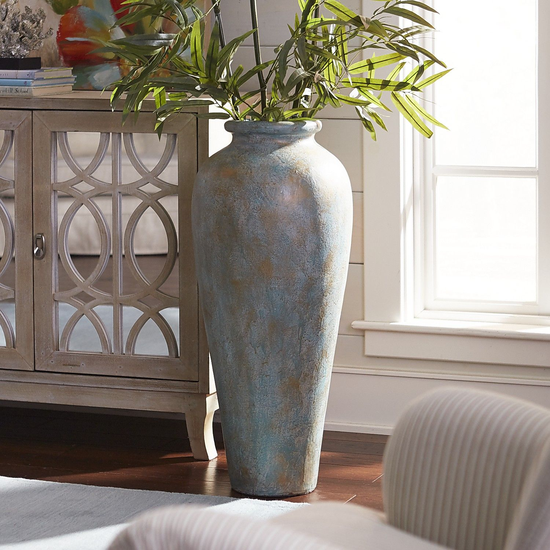 Blue Green Patina Urn Floor Vase Floor Vase Decor Tall Floor Vases Floor Vase