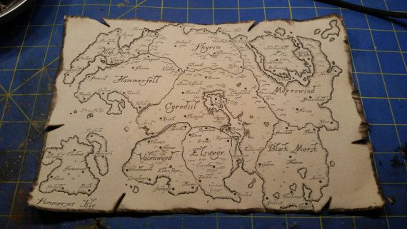 Map of Tamriel Skyrim Morrowind Oblivian Elder Scrolls Inspired