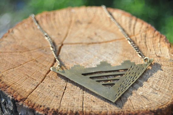 reverse brass triangle temple pendant by MissLeahDeeJewelry, $55.00