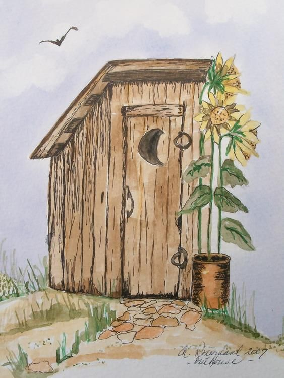 The Old Outhouse Watercolor And Ink For Sale Sold Autumn
