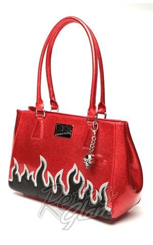 f8c1418a38 Lux De Ville Elvira Flame Tote in Red Sparkle with Black Matte Flames front