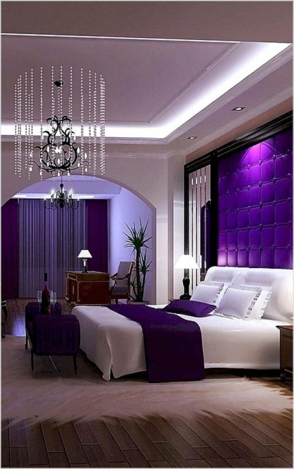 50 Inspiring Romantic Master Bedroom Ideas For Burning Love Trendehouse Purple Master Bedroom Purple Bedroom Design Purple Bedrooms
