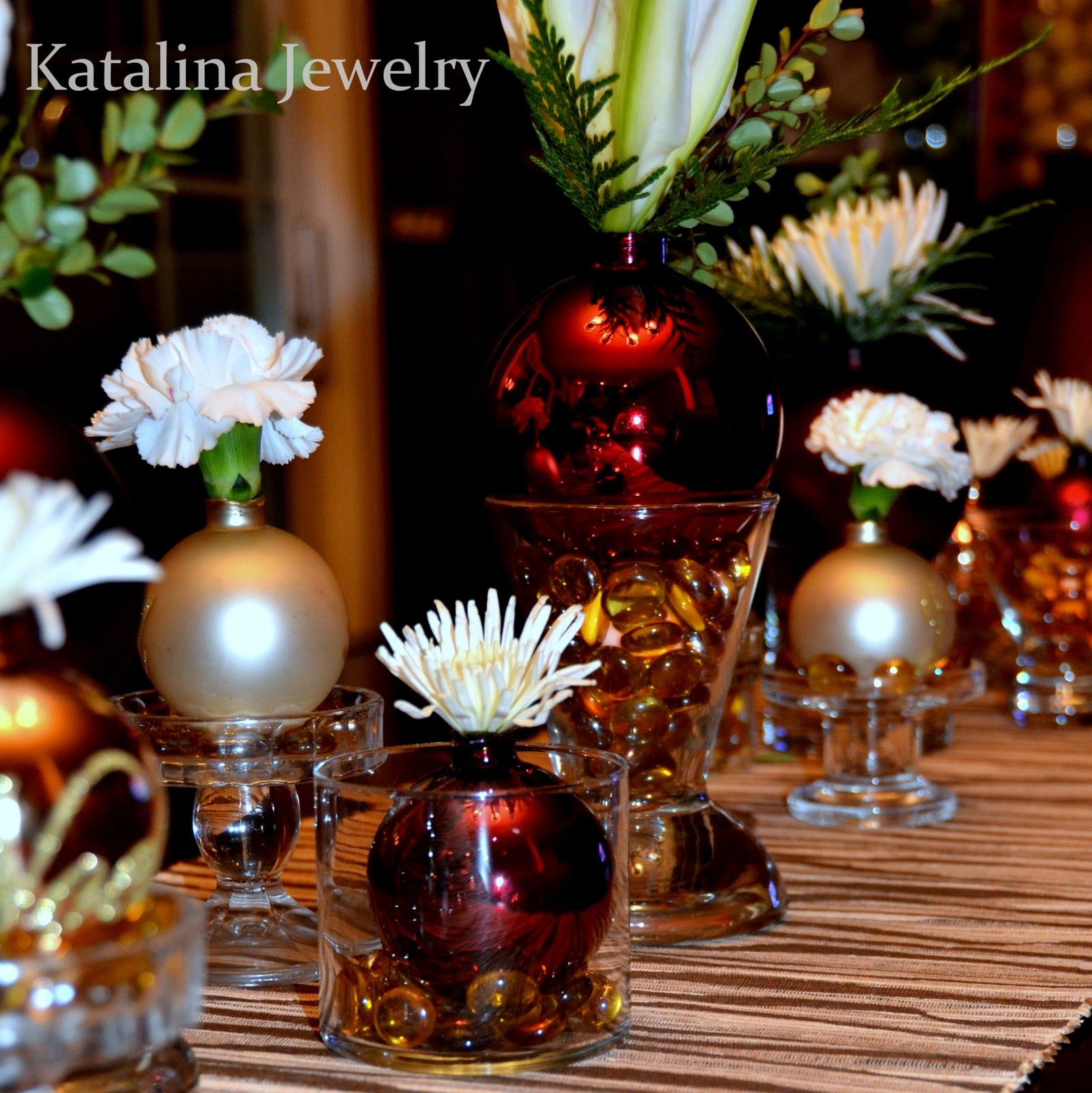 Christmas Tablescape with DIY Glass Ornament Vases Fill cheap