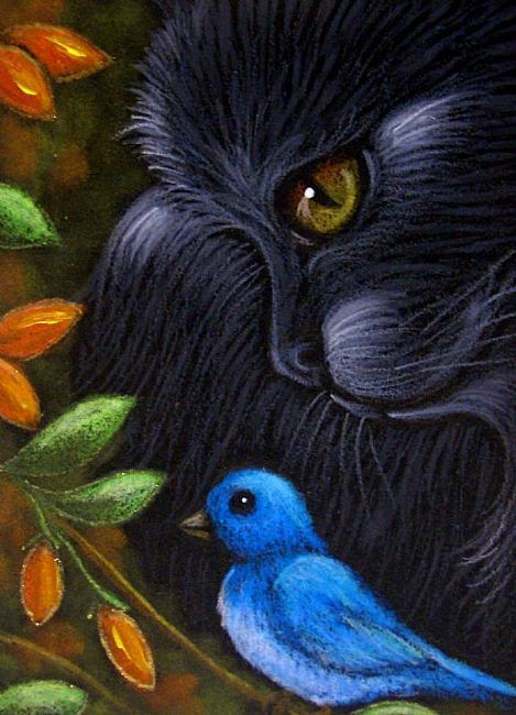 Art: BLACK CAT & BLUE BIRD by Artist Cyra R. Cancel