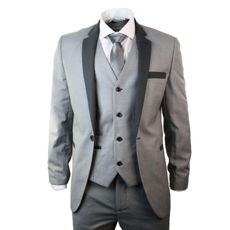 Aliexpress.com : Buy Mens 4 Piece Light Grey Suit Charcoal Trim Slim ...