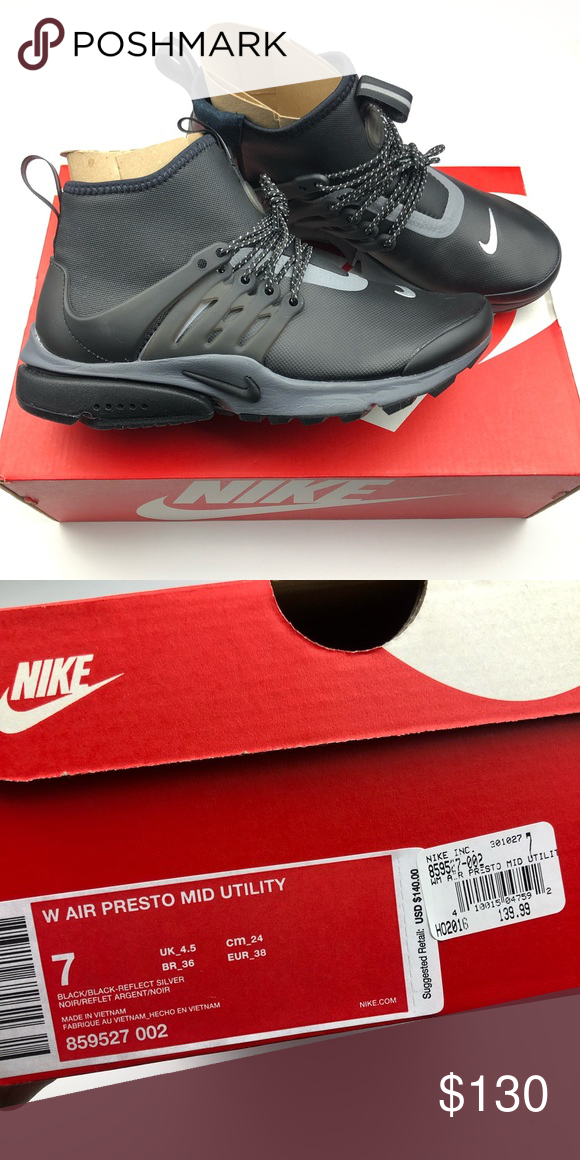free shipping 7653c 0df3e NEW Women Nike Air Presto Mid Utility Black Size 7 NEW Women Nike Air  Presto Mid Utility Black Size 7 Comes with box Nike Shoes Sneakers