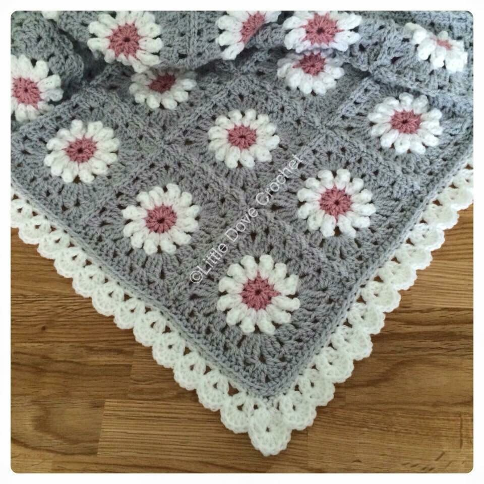 Grey And Pink Daisy Blanket By Little Dove Crochet Babies