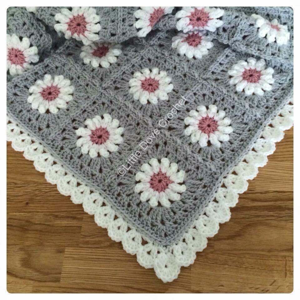 Grey and Pink daisy blanket by Little Dove Crochet   crochet ideas ...