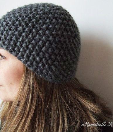 Modèle gratuit de tricot   Bonnet en point de riz   Tricot, laine ... 9cec3dc086c