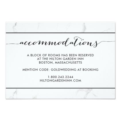 Marble Black & White Wedding Ac odation Card