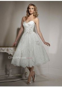 2014 New Arrival Princess Sweetheart  Lace Organza Short Wedding Dress