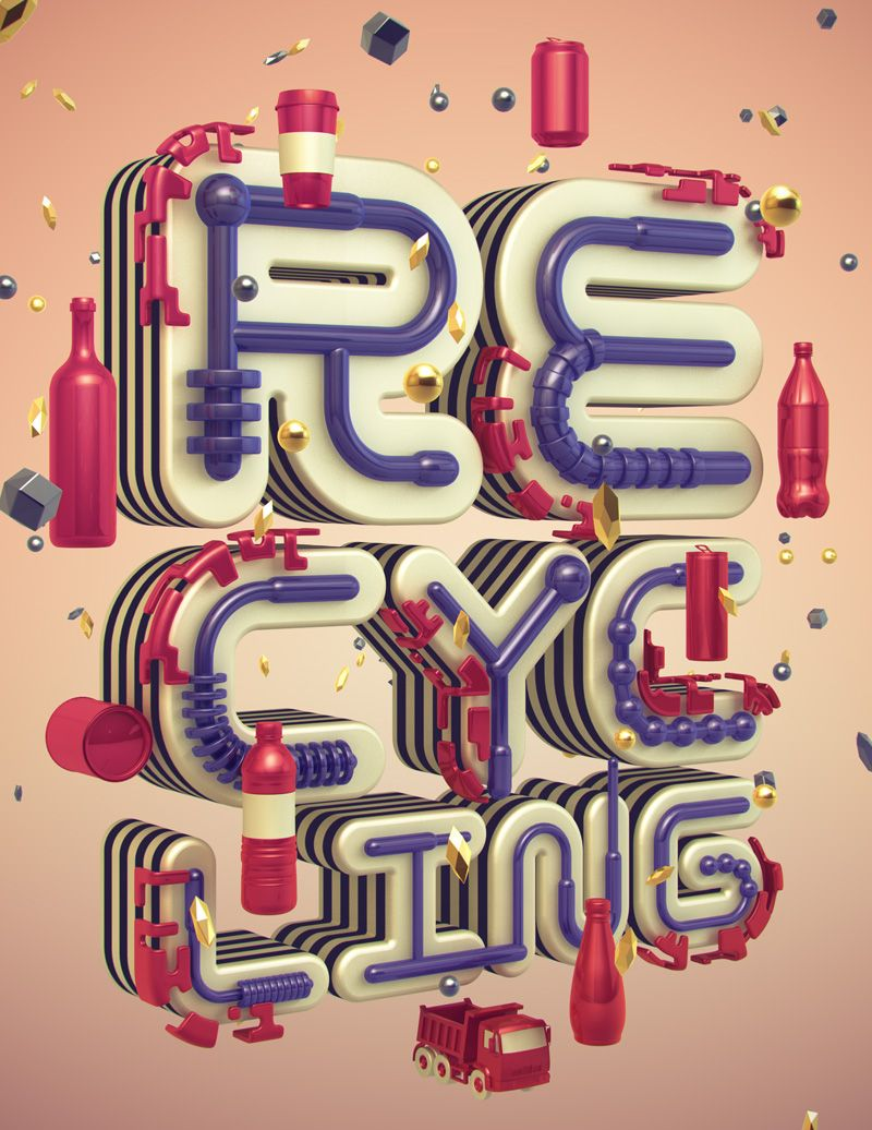 Shinbone Creative Cycle of Recycling - 3d Typography #3dtypography