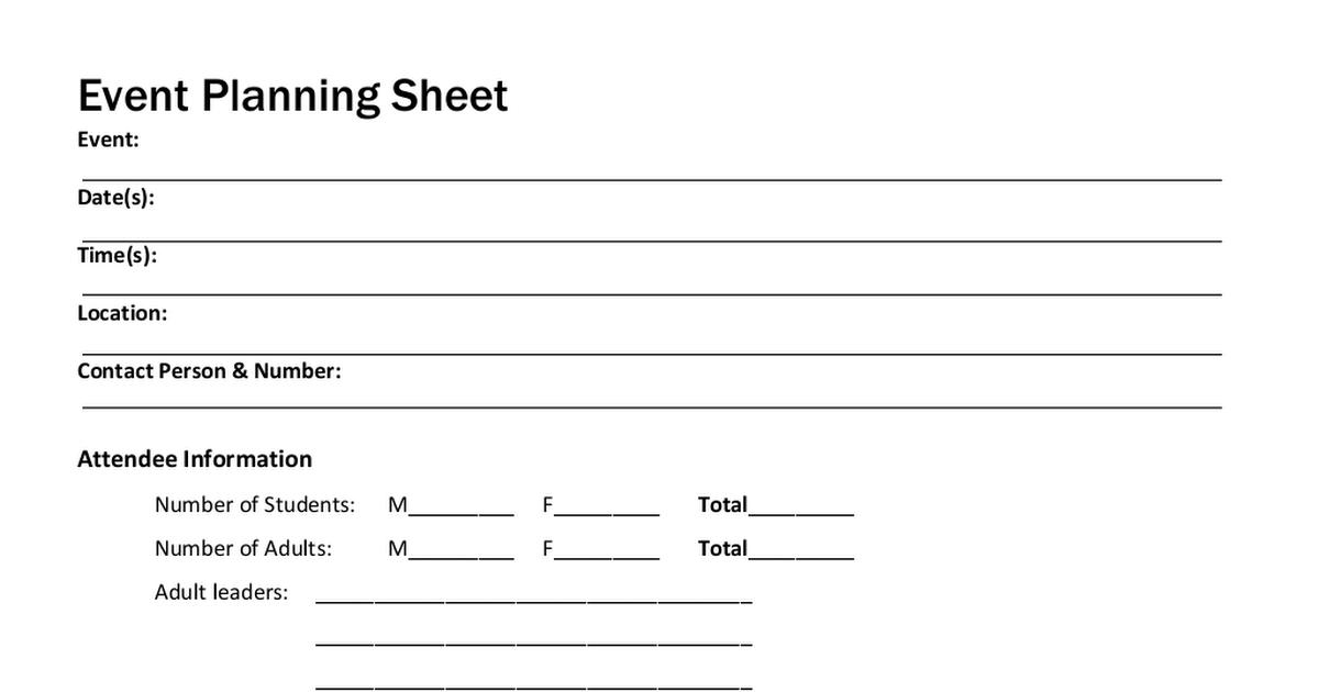 Event Planning Sheet.pdf Event planning sheet, Event
