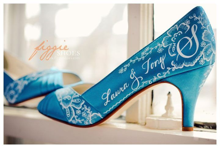 wedding shoes turquoise | Personalised Turquoise Wedding Shoes by 'Figgie Shoes'
