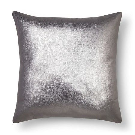 Metallic Faux Leather Decorative Pillow Silver Xhilaration