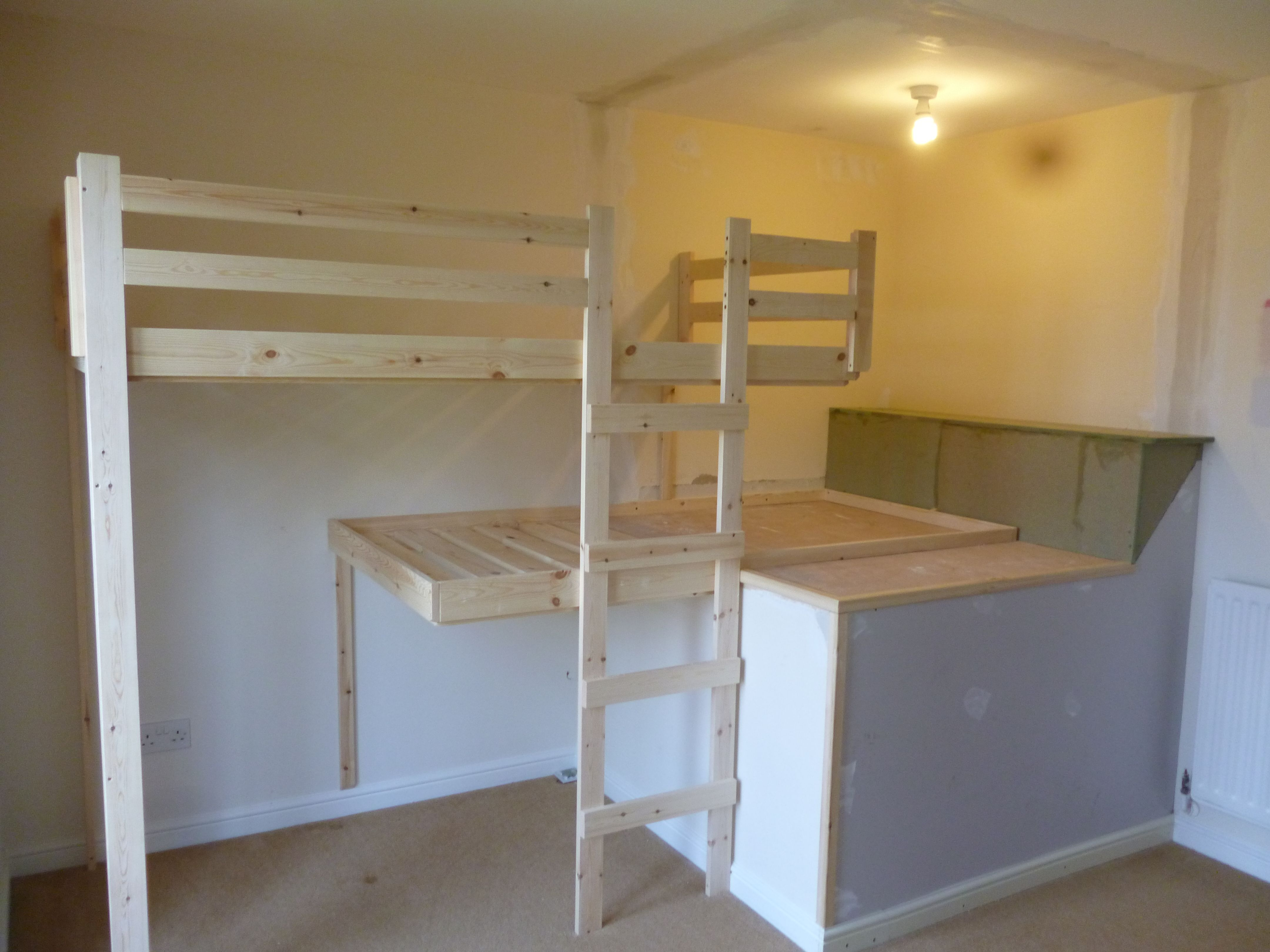 Diy Bunk Bed Plans Bedroom Inspiration Popular Unfinished Oak