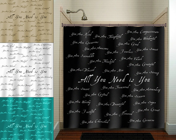 Beautiful You Positive Word Inspirational Shower Curtain Extra Etsy Cool Shower Curtains Unique Shower Curtain Kid Bathroom Decor
