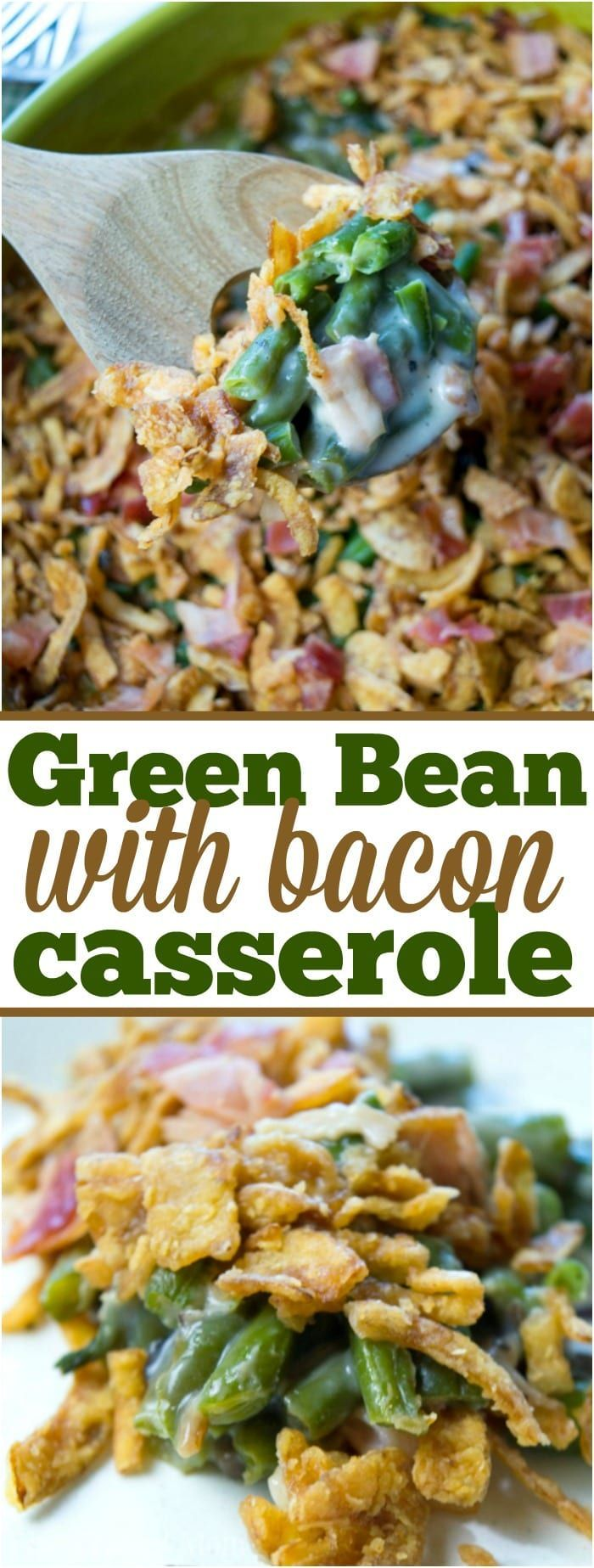 This is a really easy green bean casserole with bacon recipe that is to die for! The best Thanksgiving or Easter side dish with a creamy sauce and packed with tons of flavor. It is so delicious I make it year round with chicken or ham. It saves great for leftovers too, if you ever have any. #greenbean #bean #casserole #sidedish #vegetable #bacon #homemade #frozen via @pinterest.com/thetypicalmom #greenbeancasserolerecipe