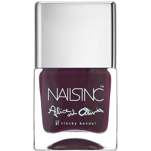 Nails inc Alice & Olivia Nail Polish, Midnight Merlot 0.47 oz (14 ml) (20 CAD) ❤ liked on Polyvore featuring beauty products, nail care, nail polish, opi nail lacquer, nail varnish, nails inc nail polish and nails inc.