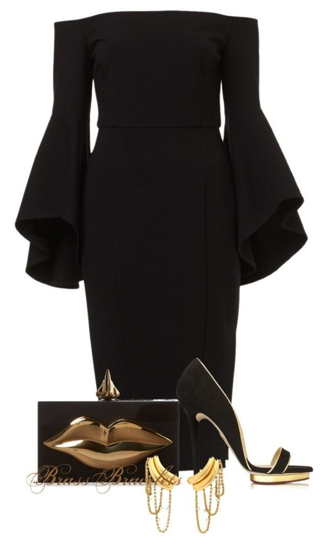 Black dress outfit polyvore