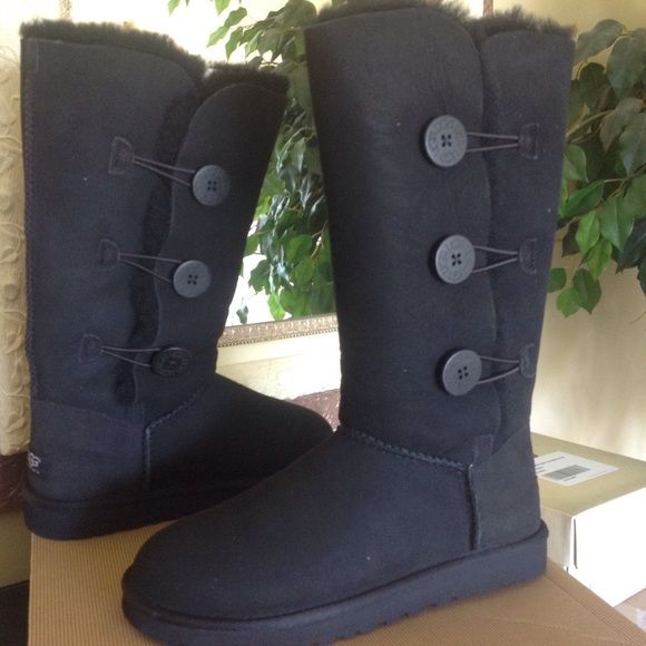 New Tall Ugg Boots Black Ugg Australia Bailey Button Triplet. Brand new w/box. No trades. UGG Shoes Winter & Rain Boots