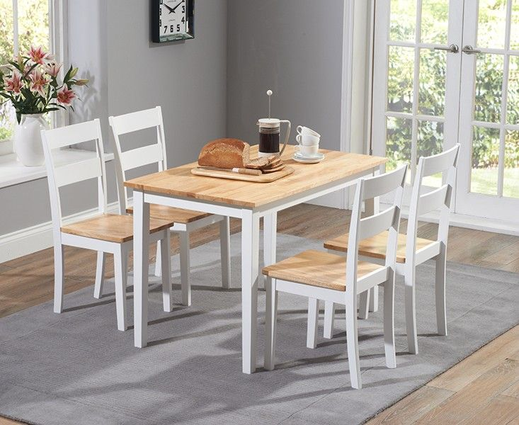 Chiltern 115Cm Oak And White Dining Table Set With Chairs Simple Oak Dining Room Decorating Design