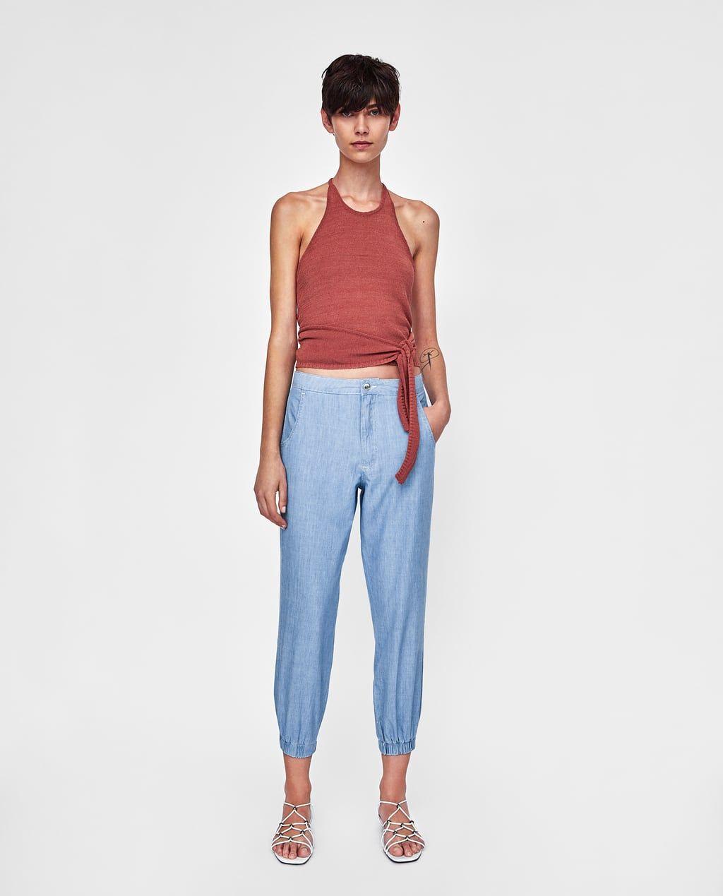 pantalon elastique femme zara