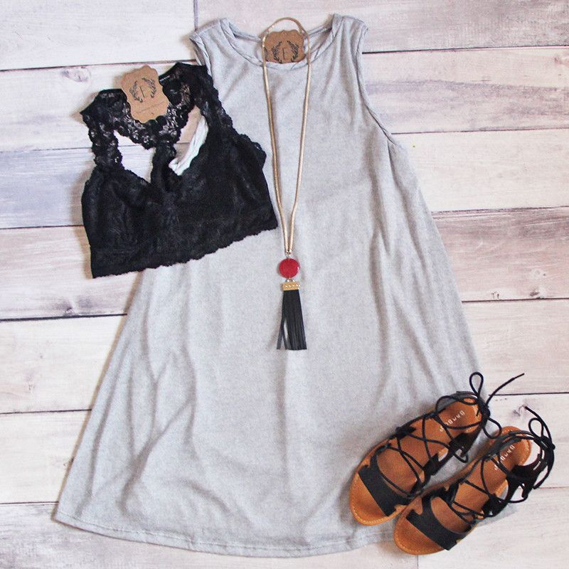 AWW!! This dress is cute as a button -- LITERALLY!! The button accents on the back are just PRESH! Shop our Cute as a Button Dress is Grey or Pink for JUST $38!