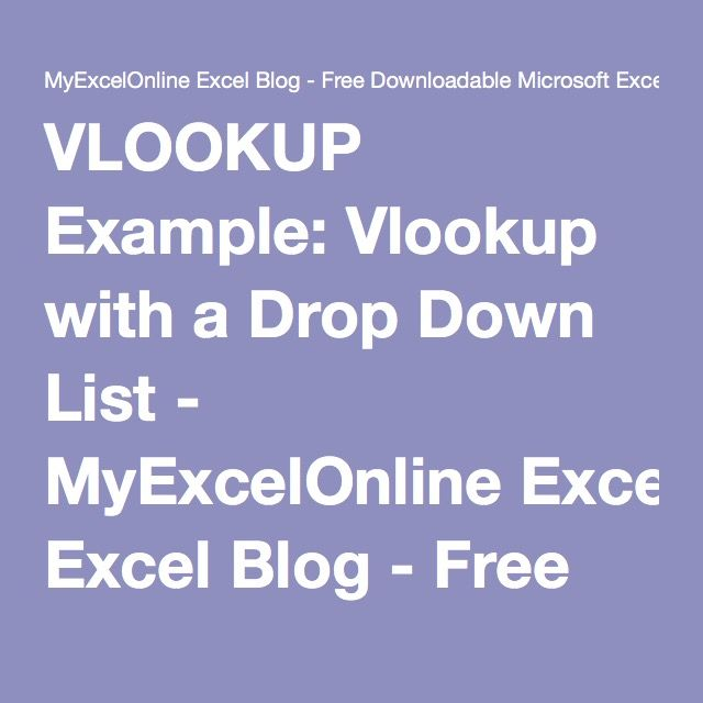 Excel VLOOKUP with Drop Down Computer Helps Pinterest