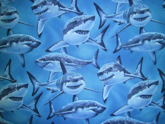 2 Yards Shark Mania Blue Fabric to Sew by QuiltGirls on Etsy, $31.00